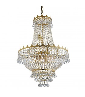 9 LIGHT 52CM GOLD PLATED CRYSTAL CHANDELIER - Searchlight 9112-52GO