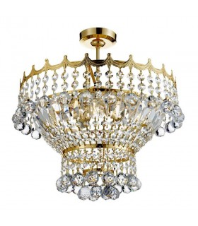 5 Light Crystal Chandelier Gold Finish