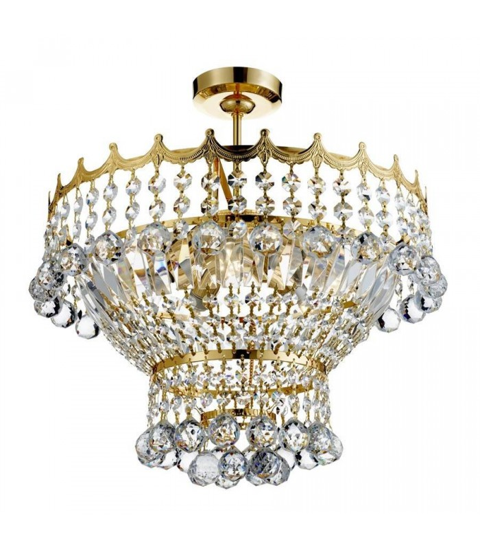 5 LIGHT 39CM GOLD PLATED CRYSTAL CHANDELIER - Searchlight 9113-39GO