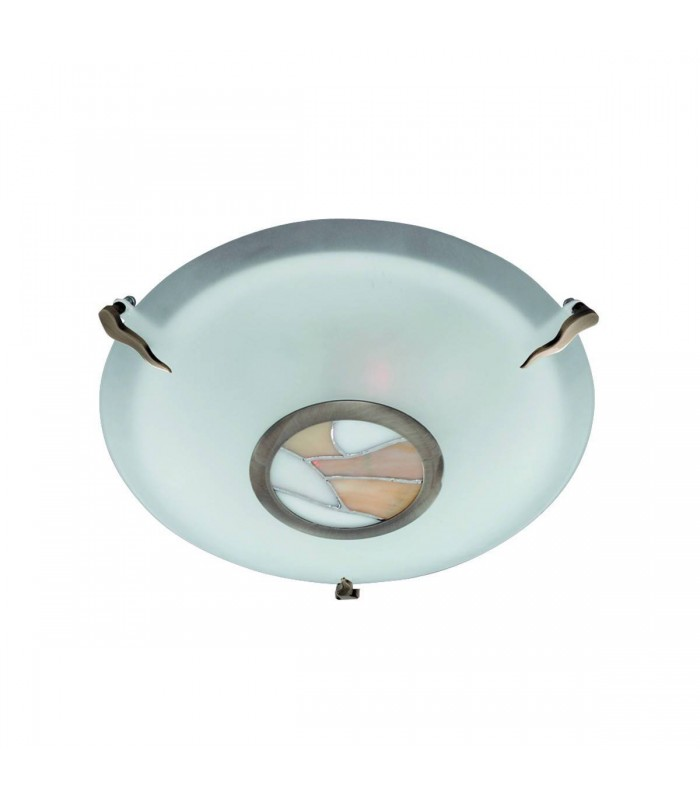 Tiffany Antique Brass Flush Ceiling Light with Frosted Glass - Searchlight 36095AM