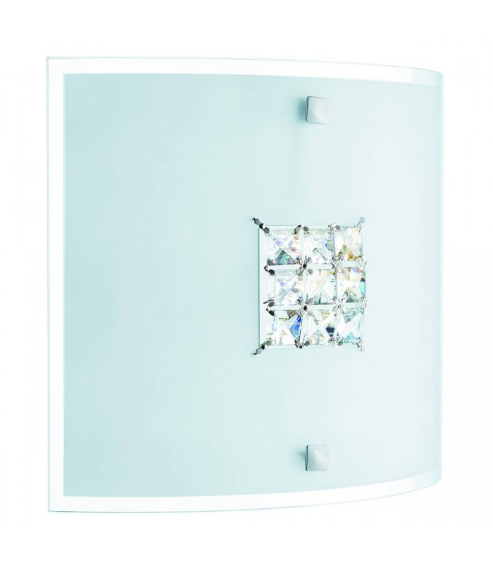 Quadrex Square Flush Ceiling/Wall Light with Crystals - Searchlight 2150-30