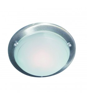 1 Light Round Flush Ceiling Light Satin Silver, E27
