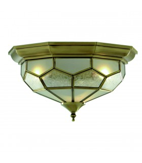 Antique Brass Multifaceted Flush Ceiling Light Fixture - Searchlight 1243-12