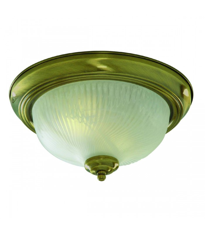 Flush Ceiling 2 Light Antique Brass with Opal Glass Dome Diffuser, E14