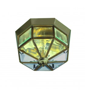 """ANTIQUE BRASS 9"""" FLUSH CLEAR GLASS FITTING - Searchlight 8235AB"""