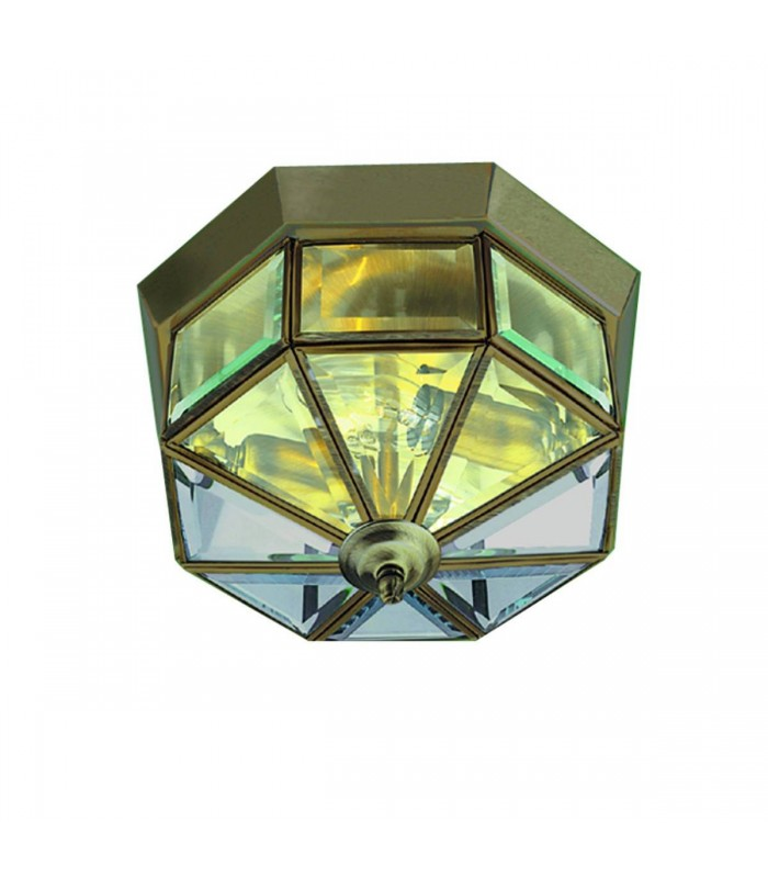 Antique Brass Octagonal Flush Ceiling Light With Clear Glass