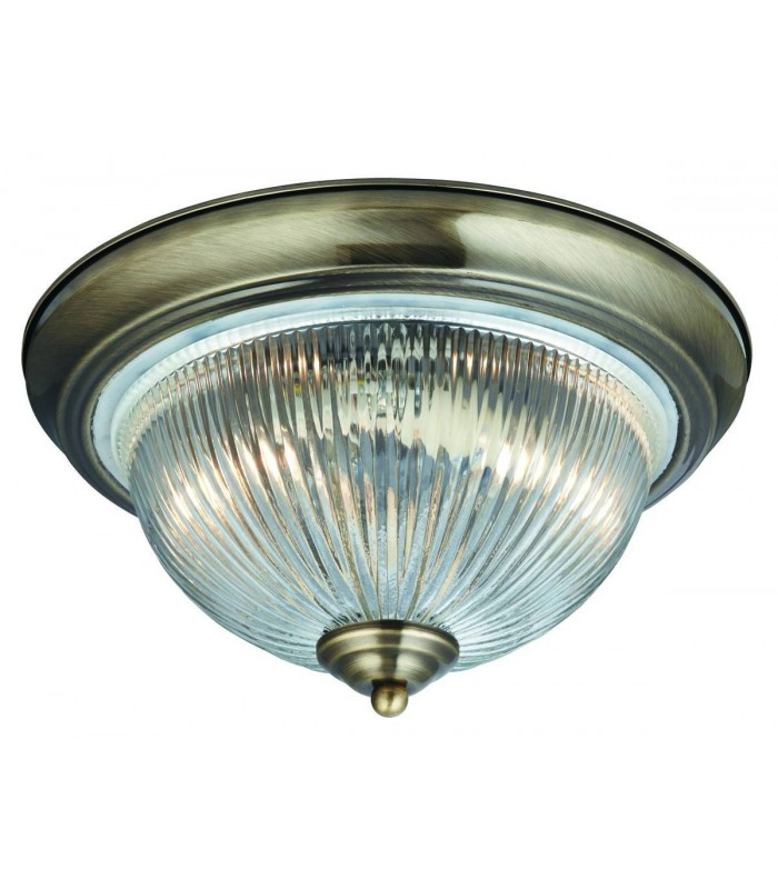 American Diner Antique Brass Flush Bathroom Ceiling Fitting - Searchlight 4370