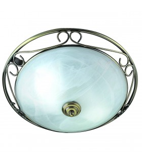 ANTIQUE BRASS/MARBLE GLASS FLUSH FITTING - Searchlight 6436