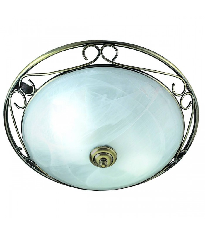 2 Light Flush Ceiling Light Antique Brass with Marble Glass Diffuser