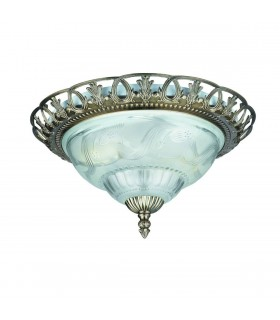 2 Light Flush Ceiling Light Antique Brass with Frosted Glass Diffuser