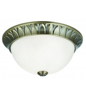 Flush Ceiling 2 Light Antique Brass with Frosted Glass Dome, E14