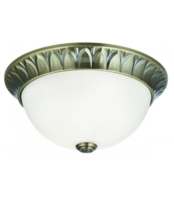 2 Light Flush Ceiling Light Antique Brass with Frosted Glass Dome