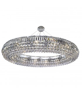 24 Light Ceiling Chandelier Chrome with Crystals, E14