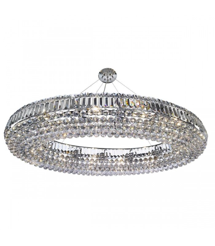 24 Light Ceiling Chandelier Chrome with Crystals