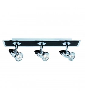 3 Light Ceiling Spotlight Bar Chrome, Matt Black, GU10
