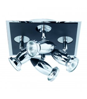 4 Light Ceiling Spotlight Chrome, Matt Black, GU10