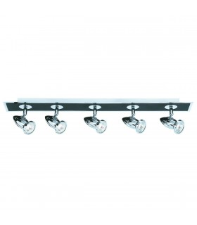 Comet Black & Chrome 5 Adjustable Spotlight Ceiling Bar - Searchlight 7495