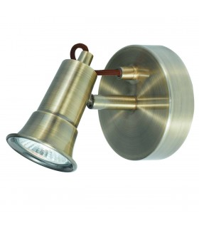 1 Light Indoor Adjustable Wall Spotlight Antique Brass, GU10