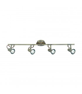 4 Light Adjustable Ceiling Spotlight Bar Antique Brass