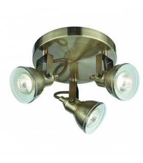 Focus 3 Light Antique Brass Ceiling Spotlight Plate - Searchlight 1543AB