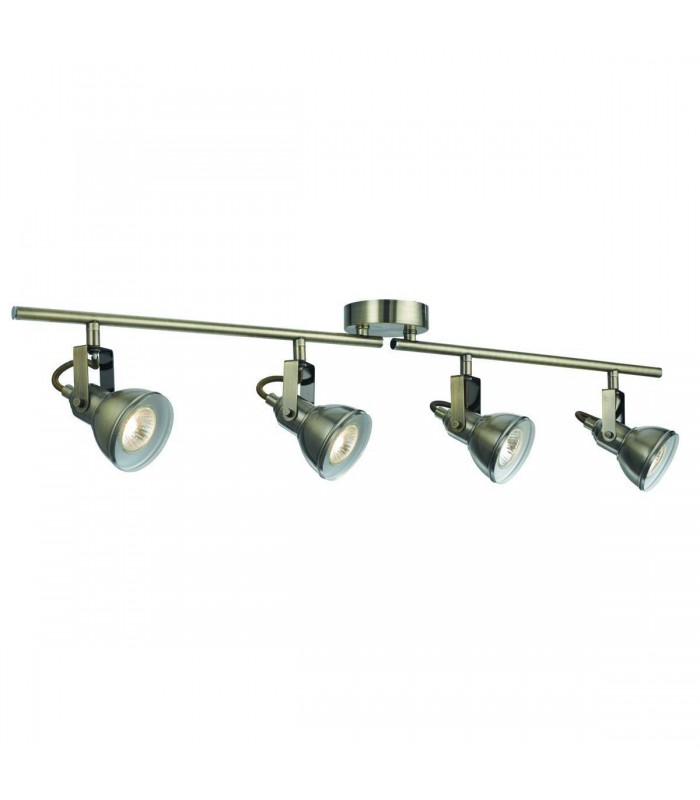 4 Light Adjustable Ceiling Spotlight Bar Antique Brass, GU10