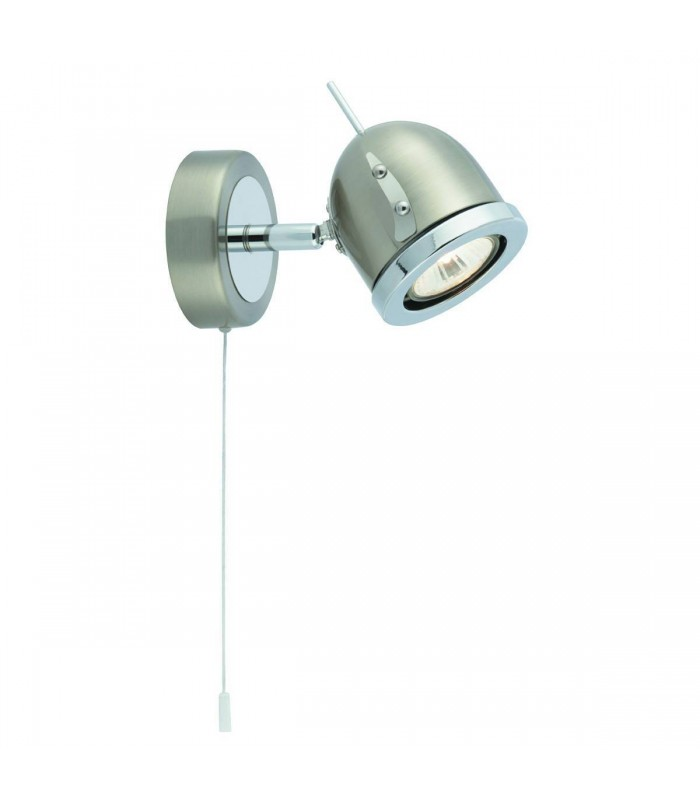 1 Light Indoor Adjustable Wall Spotlight Satin Silver, Chrome, GU10