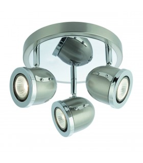 3 Light Ceiling Spotlight Satin Silver, Chrome