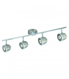 4 Light Adjustable Ceiling Spotlight Bar Satin Silver, Chrome