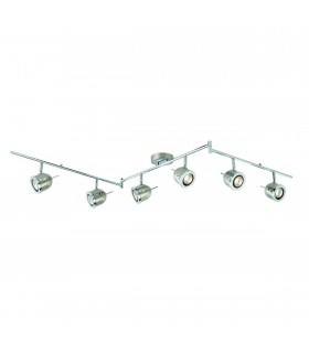 6 Light Adjustable Ceiling Spotlight Bar Satin Silver, Chrome, GU10