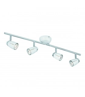4 Light Adjustable Ceiling Spotlight Bar Chrome, White