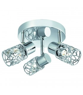 3 Light Adjustable Ceiling Spotlight Chrome, Crystal Glass