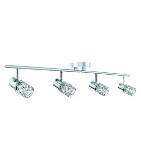 4 Light Adjustable Ceiling Spotlight Bar Chrome, Crystal Glass