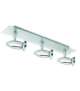 3 Light Ceiling Spotlight Bar Chrome with Glass Backplate