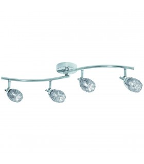 4 Light Adjustable Ceiling Spotlight Bar Chrome with Wire Mesh Shades, G9