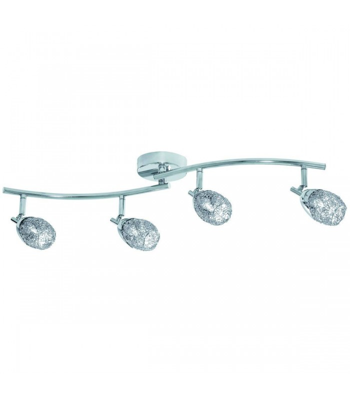 4 Light Adjustable Ceiling Spotlight Bar Chrome with Wire Mesh Shades