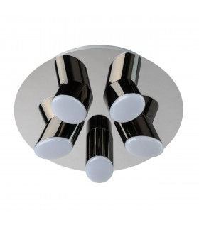 LED 5 Light Round Semi Flush Ceiling Light Chrome, Black