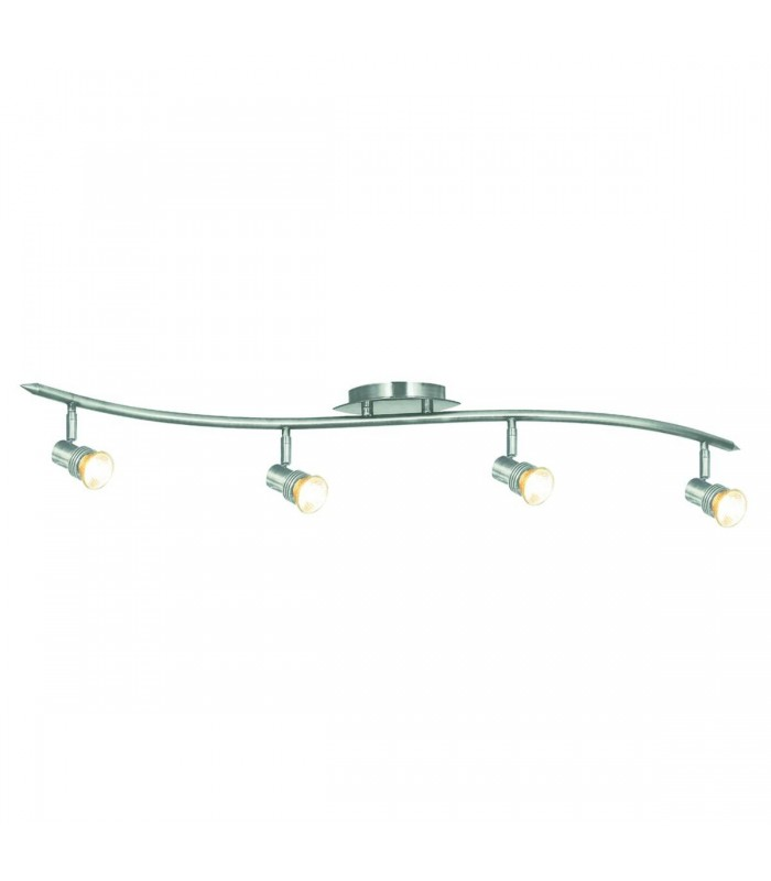 Decco Satin Silver 4 Light Ceiling 'S' Design Spotlight Bar (Pack of 6) - Searchlight P4333SS