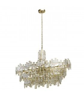 Chandelier Gold, Clear with Crystals