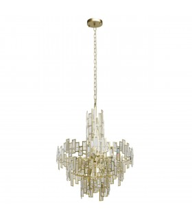 11 Light Chandelier Gold, Clear with Crystals