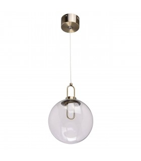 1 Light Ceiling Pendant Antique Brass, Clear with Glass Sphere Shade