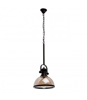 1 Light Ceiling Pendant Black, Gold with Glass Shade