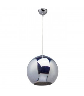 1 Light Dome Ceiling Pendant Chrome, Patterned Glass In 3D Effect