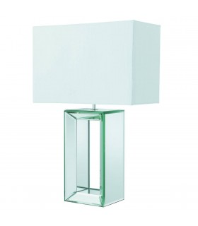 1 Light Table Lamp Mirror with White Shade, E27