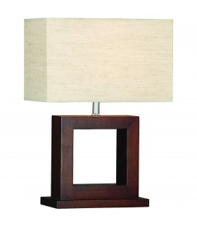 Dark Wood Table Lamp With Shade