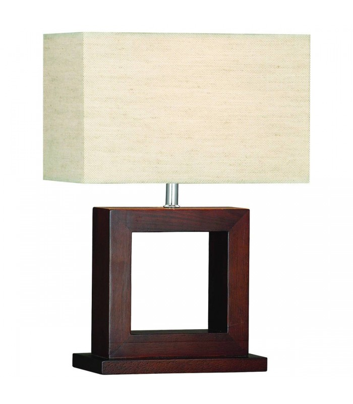 Cosmopolitan Dark Wood Table Lamp with Shade - Searchlight 9000
