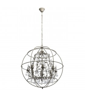 8 Light Spherical Ceiling Pendant Grey with Crystals