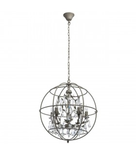 5 Light Spherical Ceiling Pendant Grey with Crystals, E14