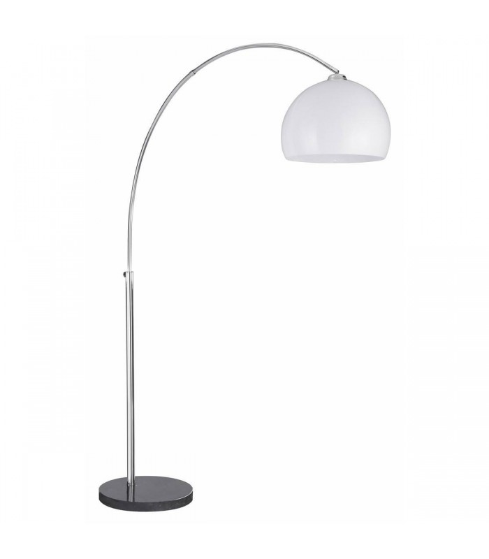 1 Light Floor Lamp Chrome, Black Marble with White Dome Shade