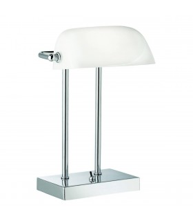 1 Light Adjustable Banker Table Lamp Chrome White Glass Shade, E14