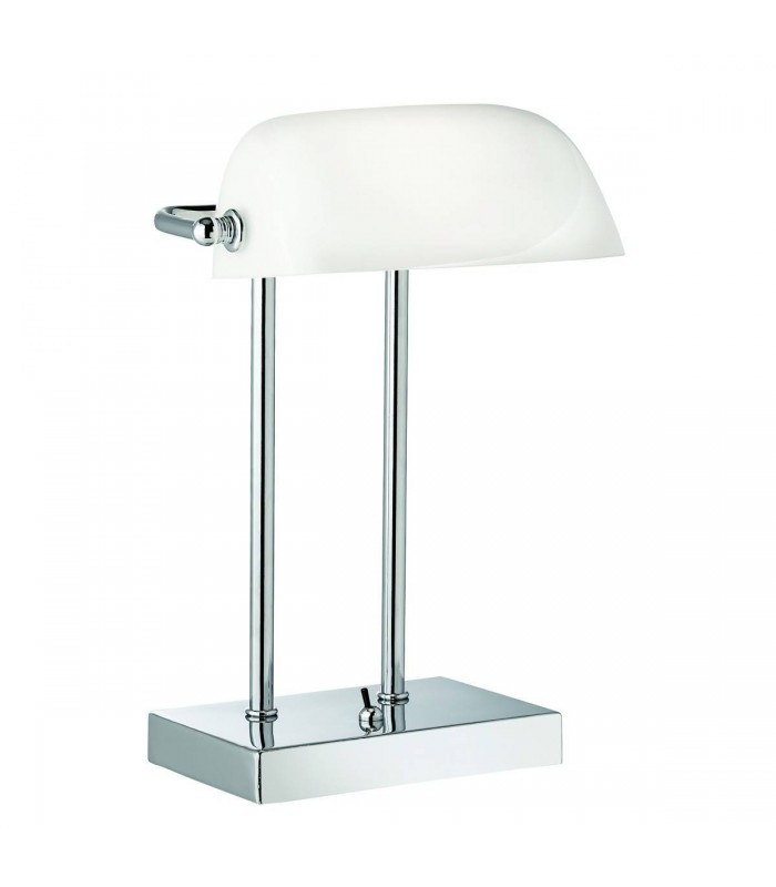 Chrome Banker Table Lamp with White Glass Shade - Searchlight 1200CC